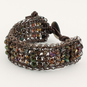 Antique copper with copper and teal beads and metallic copper leather