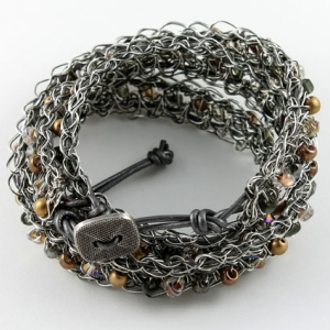 Antique silver with black leather