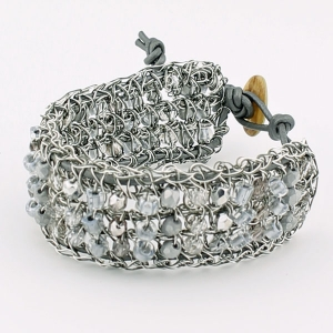 Antique silver with silver beads and pewter metallic leather