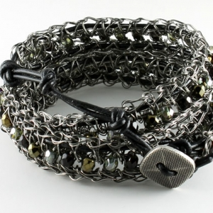 Antique gunmetal with black leather