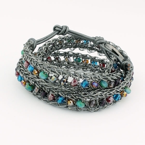 Antique gunmetal with multi beads and pewter metallic leather
