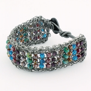 Antique gunmetal with multi colored beads and pewter metallic leather