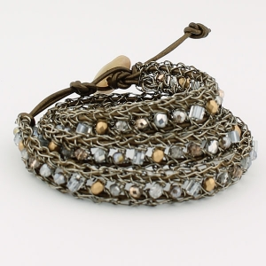 Antique bronze with  silver and gold beads and bronze metallic leather
