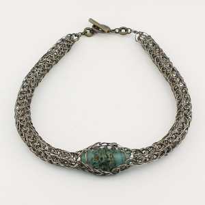 Antique Bronze with handmade glass bead