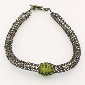 Antique bronze with olive bead